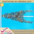 Xly022 metálico bordado del cordón del cuello alto vestidos