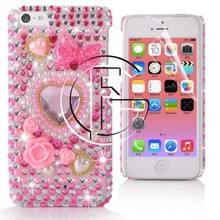 Hot selling Luxury Love Flower Bowknot Diamond-studded Mobile Phone Case for iPhone 5C Crystal Case