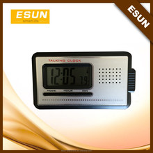 Convenient easy operated aluminium plate traveling talking alarm clock with torch/torch clock