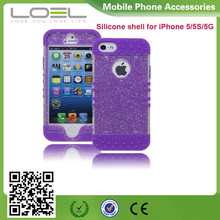 Protective Case Purple Silicone Cover with Clear Sparkly Glitter Design cell phone soft gel case cover