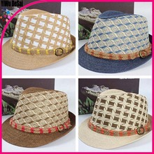 Wholesale new sun hat Both men and women Hemp rope belt jazz cap hat