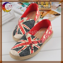 Slip on US flog printed canvas shoes wholesale with cheap price