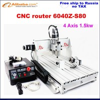 Russia free Shipping & Tax! wet stone grinding machine cnc router 6040 z-s80 4axis 1.5KW spindle lathe to metal stone wood pcb..