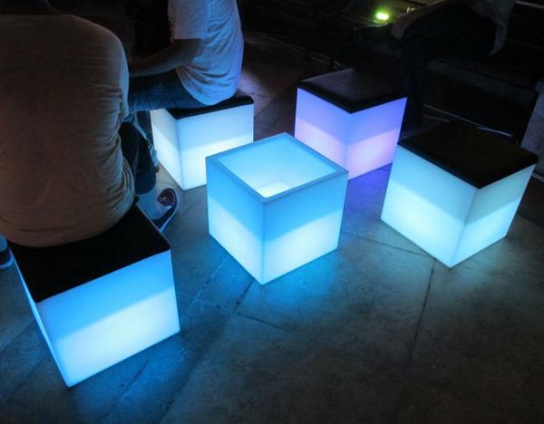 Led Light Bench : Led light snake bench illuminated curved glow