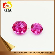 Factory price Round shaped Ruby checker pink synthetic ruby on sale