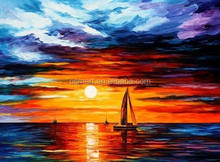decor wall hanging scenery painting sea and boat oil painting small fishing boats sunset oil painting on canvas for home decor