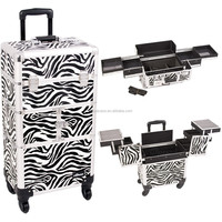 PRO ZEBRA Trolley 2-in-1 Aluminum Rolling Makeup Case /w 4 wheels