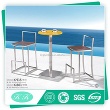 Outdoor steel glass bar table and chair used