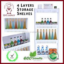 Space-Saving Plastic wheeled Slim Storage Shelf Beverage Shelf