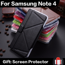 In Stock Luxury Stand Smart Magnetic Cover TPU Ultra Soft Holder PU Leather Phone Case For Samsung Note 4