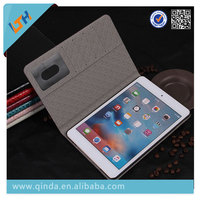 Hot selling grain flip cover leather case for ipad mini 4 with stand and wallet function