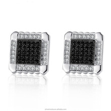 18K Platinum Plated Black Square Stud Earrings with Paved Micro AAA Cubic Zircon For Women Jewelry