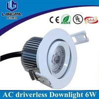 New tech AC230V driverless 6w dimmable 4000K downlight led, ac cob led downlight