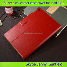 super slim auto sleep wake wallet leather case for ipad air 2,for ipad case with card pocket ,for ipad air 2 case