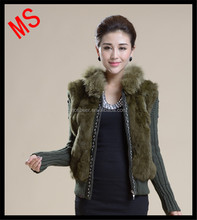 ladies rabbit fur and knitting vest