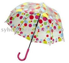 20''*8k manual open clear bubble dome umbrella with polka dot