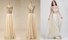 Cheap Original Quality Cap Sleeve Champagner Chiffon Shiny Evening Dresses With Beads