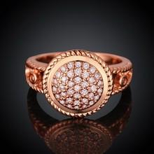 sj de estilo europeo clásico r044-b mujeres de cobre chapado en oro rosa de mirco cúbico blanco oval anillo de compromiso