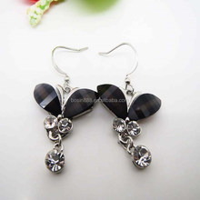 Latest design fashion crystal charm 925 sterling silver earrings for young girls #21115