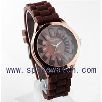 Stainless steel bakecase waterproof silicone wrist watch chocolate watch