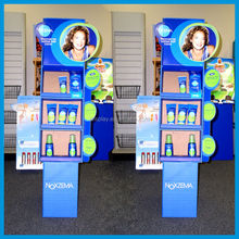 Floor Cardboard cosmetic display stand for body lotion shop retail