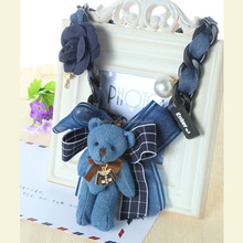Bear shape initial necklace in hot sale,fabric bear design necklace,winter sweater necklaces
