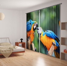 Hottest Brasil style curtain designs with romantic kissing parrots 3d printing for bedroom decorating