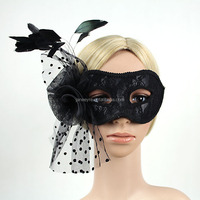 New Arrival Halloween Lace Cover Eye Carnival/Masquerade Mask/ With Feather