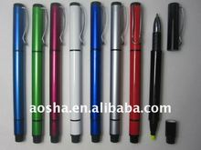 promotional plastic twist-action highlighter ball pen