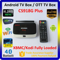 Free to air CS918G plus hd sex pron video tv box, android 4.4 google set top box, Amlogic S805 Quad Core 1.5GHz tv box