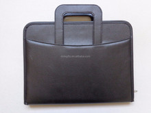 new design A4 smooth pu leather memo folder portfolio with calculator