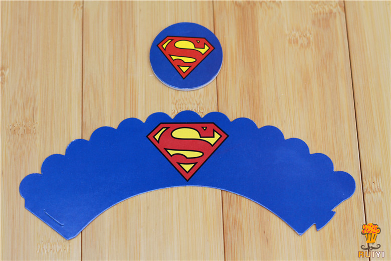 com : Buy 120sets Superman cartoon paper cupcake wrappers baby shower ...