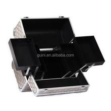 Elegant Golden Diamond Cosmetic Case Aluminum Makeup Box Gathering Toiletry Case