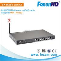FOXUN RJ45 Wifi HDMI Matrix Switch 8x8 Over Cat5e 6 With Remote IR Support 3D Up to 4K2K 60Hz HDMI matrix