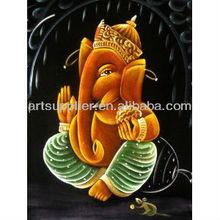 Handmade holy Indian god oil painting of ganesha