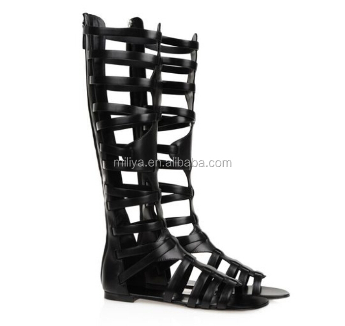 fashion cut out gladiator flat summer knee high sandal boot newest design