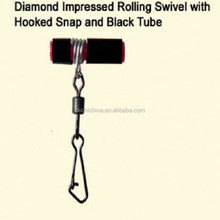 Wholesale Fishing Diamond Impressed Rolling Swivel with Hookded Snap and Black Tube