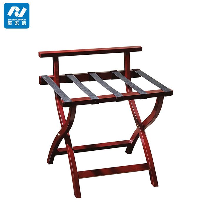 Hotel Wood Folding Baggage Shelf Luggage Rack For Modern