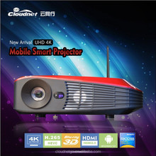 Cloudnetgo LED projector Supports flash 11.1HDMI 2.0 up to 4K Android 4.4 Blu-ray 3D LED Projector with 3D DLP Link glasses