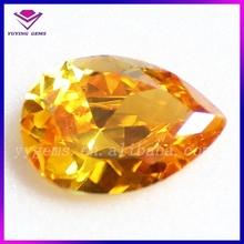Factory price 5*7mm pear fancy cut golden cubic zirconia loose gemstone semi precious stone jewelry