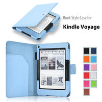 2014 new released book style leather case cover for Amazon Kindle Voyage leather case 6 inch E-reader Factory supply