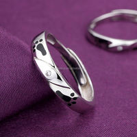 Romantic electroplating gifts for newly married couple korea silver 925 accept paypal two finger ring