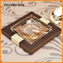 Spot wholesale high-grade leather crystal ashtray creative advertising can be printed LOGO customized gifts ashtray