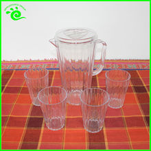 5PCS Clear Jugs With Cups Plastic Water Jug With Side Handle