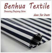 Blue White Ponte de Roma Stripe Spandex Polyester Yarn Dyed Fabric For Shirt