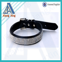 XS 1.5*30cm adjustable leather rhinestone dog collar
