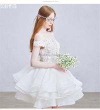 Sexy Flat shoulder Lace Appliqued wedding dresses removable skirt FXL-112