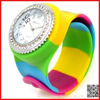 2012 Fashion Custom Diamond rainbow band silicone sports watch for gifts