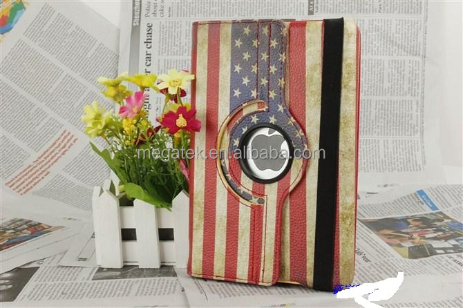 contry flag 360 rotating leather case for ipad mini with plastic cradle