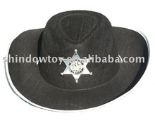 Carnival hat /Festvial hat /Party hat black Wide brim hat with white six pointed star
